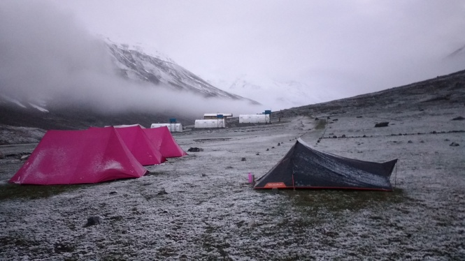 A thin blanket of snow covered the campsite just a few minutes after we settled into our tents