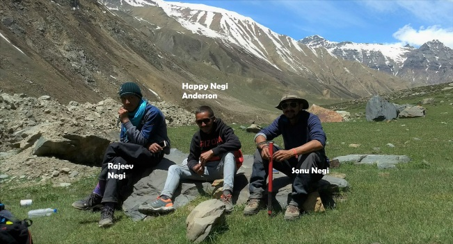 The awesome trio from Raacho Trekkers, who made the Lamkhaga Pass trek a memorable trip for each one of us in the group. Sonu Negi (Trek Lead), Happy Negi (Leader/Sweeper), Rajeev Negi (Leader/Sweeper). Image credits: Gautam Baliga (www.bgbaligatraveldiary.com)