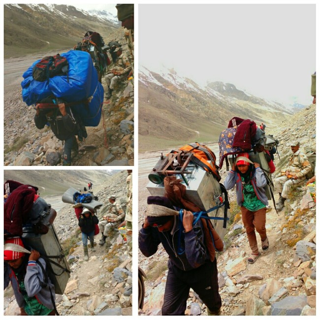 Porters of Lamkhaga team marching towards Nithal